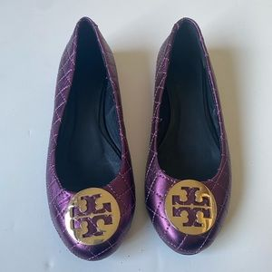 Tory Burch Minnie Purple Quilted Ballet Flats